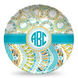 Teal Circles & Stripes Microwave Safe Plastic Plate - Composite Polymer (Personalized)
