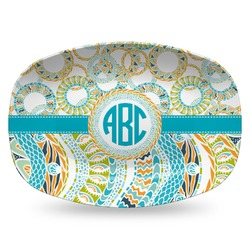 Teal Circles & Stripes Plastic Platter - Microwave & Oven Safe Composite Polymer (Personalized)