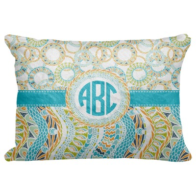 """Teal Circles & Stripes Decorative Baby Pillowcase - 16""""x12"""" (Personalized)"""