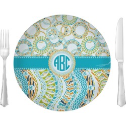 """Teal Circles & Stripes 10"""" Glass Lunch / Dinner Plates - Single or Set (Personalized)"""