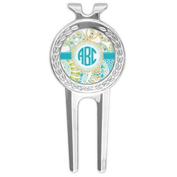 Teal Circles & Stripes Golf Divot Tool & Ball Marker (Personalized)