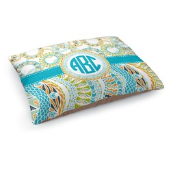 Teal Circles & Stripes Dog Pillow Bed (Personalized)