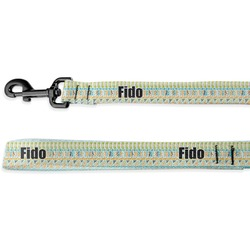 Teal Circles & Stripes Deluxe Dog Leash (Personalized)
