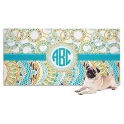 Teal Circles & Stripes Dog Towel (Personalized)