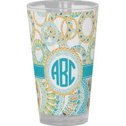 Teal Circles & Stripes Drinking / Pint Glass (Personalized)