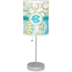 """Teal Circles & Stripes 7"""" Drum Lamp with Shade (Personalized)"""