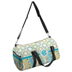 Teal Circles & Stripes Duffel Bag (Personalized)