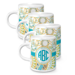 Teal Circles & Stripes Espresso Mugs - Set of 4 (Personalized)