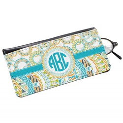Teal Circles & Stripes Genuine Leather Eyeglass Case (Personalized)