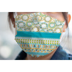 Teal Circles & Stripes Face Mask Cover (Personalized)
