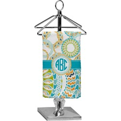 Teal Circles & Stripes Finger Tip Towel - Full Print (Personalized)