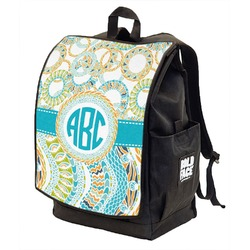 Teal Circles & Stripes Backpack w/ Front Flap  (Personalized)