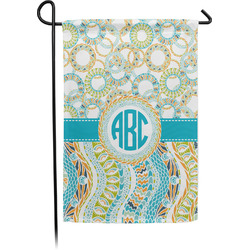 Teal Circles & Stripes Garden Flag (Personalized)