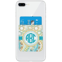 Teal Circles & Stripes Genuine Leather Adhesive Phone Wallet (Personalized)
