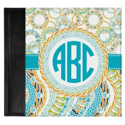 Teal Circles & Stripes Genuine Leather Baby Memory Book (Personalized)