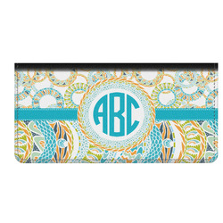 Teal Circles & Stripes Genuine Leather Checkbook Cover (Personalized)
