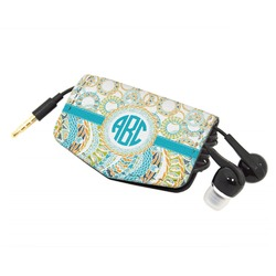 Teal Circles & Stripes Genuine Leather Cord Wrap (Personalized)
