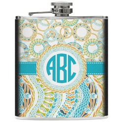 Teal Circles & Stripes Genuine Leather Flask (Personalized)
