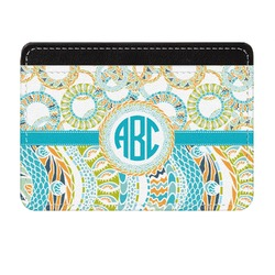 Teal Circles & Stripes Genuine Leather Front Pocket Wallet (Personalized)