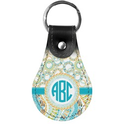 Teal Circles & Stripes Genuine Leather  Keychain (Personalized)