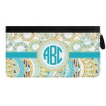 Teal Circles & Stripes Genuine Leather Ladies Zippered Wallet (Personalized)