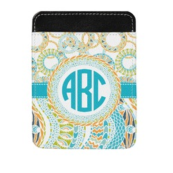 Teal Circles & Stripes Genuine Leather Money Clip (Personalized)