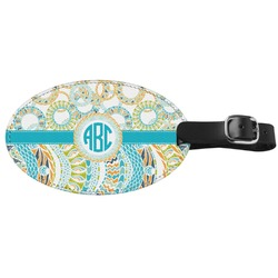 Teal Circles & Stripes Genuine Leather Oval Luggage Tag (Personalized)