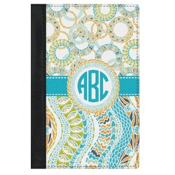 Teal Circles & Stripes Genuine Leather Passport Cover (Personalized)