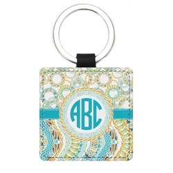 Teal Circles & Stripes Genuine Leather Rectangular Keychain (Personalized)