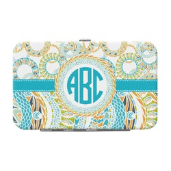 Teal Circles & Stripes Genuine Leather Small Framed Wallet (Personalized)