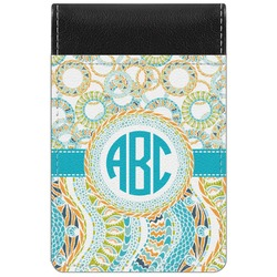 Teal Circles & Stripes Genuine Leather Small Memo Pad (Personalized)