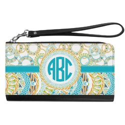 Teal Circles & Stripes Genuine Leather Smartphone Wrist Wallet (Personalized)