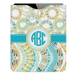 Teal Circles & Stripes Genuine Leather iPad Sleeve (Personalized)