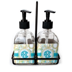 Teal Circles & Stripes Soap & Lotion Dispenser Set (Glass) (Personalized)