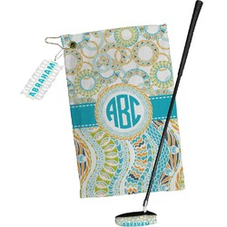 Teal Circles & Stripes Golf Towel Gift Set (Personalized)
