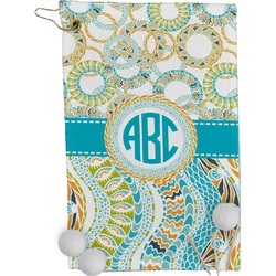 Teal Circles & Stripes Golf Towel - Full Print (Personalized)