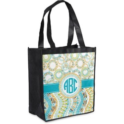 Teal Circles & Stripes Grocery Bag (Personalized)