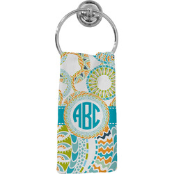 Teal Circles & Stripes Hand Towel - Full Print (Personalized)