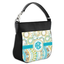 Teal Circles & Stripes Hobo Purse w/ Genuine Leather Trim (Personalized)