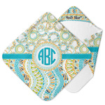 Teal Circles & Stripes Hooded Baby Towel (Personalized)
