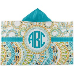 Teal Circles & Stripes Kids Hooded Towel (Personalized)