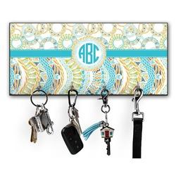 Teal Circles & Stripes Key Hanger w/ 4 Hooks w/ Monogram