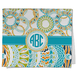 Teal Circles & Stripes Kitchen Towel - Full Print (Personalized)