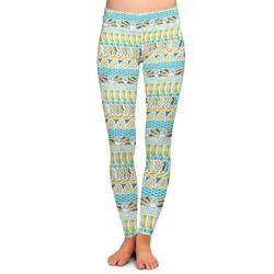 Teal Circles & Stripes Ladies Leggings (Personalized)