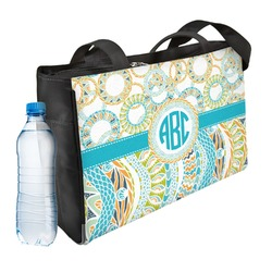 Teal Circles & Stripes Ladies Workout Bag (Personalized)