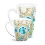 Teal Circles & Stripes Latte Mug (Personalized)