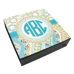 Teal Circles & Stripes Leatherette Keepsake Box - 8x8 (Personalized)