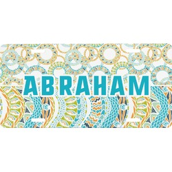 Teal Circles & Stripes Front License Plate (Personalized)