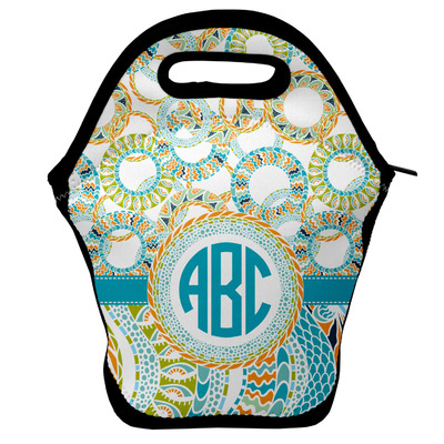 Teal Circles & Stripes Lunch Bag w/ Monogram