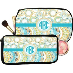 Teal Circles & Stripes Makeup / Cosmetic Bag (Personalized)